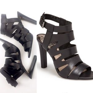 Vince Camino Olenna Black Leather Stacked Heel